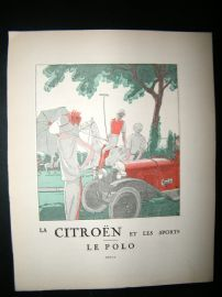 Gazette du Bon Ton 1922 Art Deco Print. Citreon Car Advert, Sporting - Polo